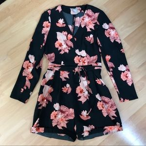 H&M Black Flowered Romper